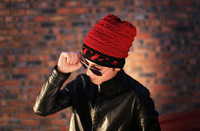 free shipping 2014 The winter knitting wool cap Street man sets and pile cap special design Outdoor men's knitted wool hat