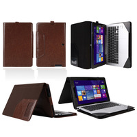 """Leather Keyboard Portfolio Case Stand Cover For 11.6"""" Asus Transformer Book T200 T200TA"""