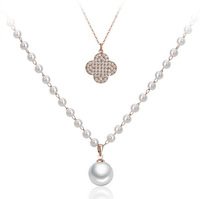 Lucky four leaf clover pearl long necklace  female CA831110