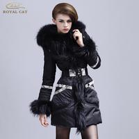 Royal cat for slim waist fashion luxury raccoon fur medium-long women's down coat female