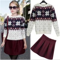 New women's wild long-sleeve knit sweater + woolen skirt twinset suit