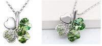 Silver Plated Crystal Peach Heart Lucky Four Leaf Clover Pendant Necklace 64149