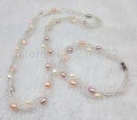 wholesale 5-6mm 10set 3row White & multicolor freshwater pearl necklace & bracelet  Q24#