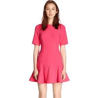 2014 high-Rose Red Short Sleeve sexy mini dress flounced