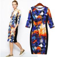 2014 new winter cheongsam dress elegance ink printing Sleeve round neck dress female bag hip skirtxjh70