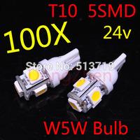 Hot Sale wholesale 100pcs 24V car LED Lamp T10 5SMD 5 SMD 5LED WHITE LAMP W5W 194 5050 SMD 5 LED White Light Bulbs