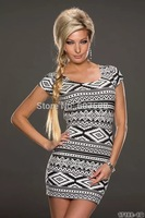 2014 New Rhombus Design Women Sexy Gray Prints Printed Style Classical Mysterious Design Summer Girl Dresses hot sale