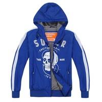 2014 spring Autumn new men's brand hooded sports jacket / Men leisure cool skull printing slim windbreaker