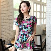 Ladies Chiffon Short Sleeve Shirt Fashion Collect Show Thin Waist Floral Print Noble Temperament Fresh Feminine Blouse 9448