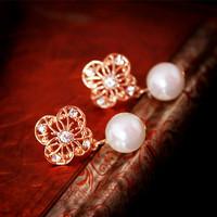 Accessories pearl cutout flower big stud earring