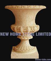 natural stone planter gardening pot beige marble stone freestand flower pot