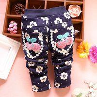 4pc/lot girls trousers cherry for baby clothing kids pants thicken velvet children wholesale panya dzj86