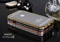 New Luxury Brand Ultra Thin Slim Aluminium Metal Rhinestone Bumper Protective Frame Cover Case For iPhone 6
