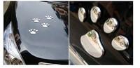 2 pairs/lot Car Sticker 3D Dog Bear paw prints Chrome Badge Emblem Car Sticker Decal car styling Free shipping