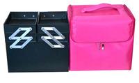 Medium make-up package cloth box, portable handheld multilayer with makeup bag receive detachable shoulder belt.