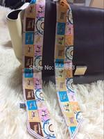2014 BRAND new 100% real silk 32*2 inch small ribbon belt bind bag headband real shot horse woman scarf high quality sale item