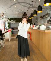 2014 new fashion summer spring women's  long-sleeved T shirt chiffon vest two-piece dress stitching
