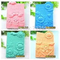 Free shipping 4pcs Square Sunshine Flower Handmade DIY Silicone Soap chocolate Mold,Fondant Cake Candy Tools for Kitchen Baking