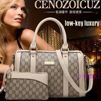 2014 European American Style luxury brand Women Combo Handbag Pillow Pattern Embossed Shoulder Bags Free Shipping