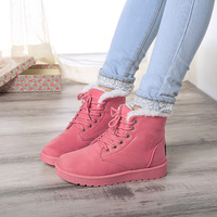 snow boots plus velvet suede lace-up women tendon at the end with flat boots women boots warm cotton shoes 111011