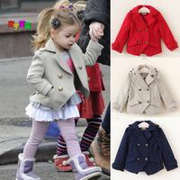 2015 Fashion Girl Short Coat  Double-breasted Jacket Suit Spring Autumn Children Girl Dress