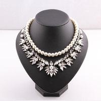 2014 hot sale women pearl crysatl necklaces & pendants statement necklace flower collar choker necklace jewelry accessories 8766