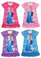 Retail summer frozen dress fashion girl dress for Elsa & Anna Fantasy children's wear kids clothes 317