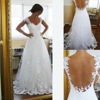 2014 Vintage Sheer A-Line Wedding Dresses Cheap Bridal Gown Dresses for Garden Beach Wedding Bride High Quality Lace V-Neck Plus
