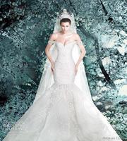 SSJ 2014 New Arrival Michael Cinco Sheer Backless Garden Wedding Dresses Mermaid Off-Shoulder Elegant Ivory Appliques Sequins Br