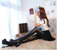 SEXY!!! new 2014 women spring autumn winter show thin fashion Brand faux leather capri pants black leggings
