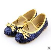 New 2014 Cute Shining Bling Frozen Elsa Design Children Shoes Kids Girls Sneakers Princess Bowknot Shoes