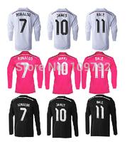 2015 long sleeve Real Madrid white Pink Black Jersey soccer 14 15 Real Madrid Ronaldo BALE JAMES Sergio Ramos Football shirt