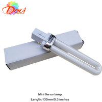 12pcs/lot 9w mini electronic uv nail gel lamp 135mm length nail buble light to nail dryer for nail art