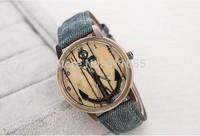 new 2014 design jeans Anchor 1pcs/lot Fabric quartz watch golden case unsex letter print antique wristwatch vintage steampunk