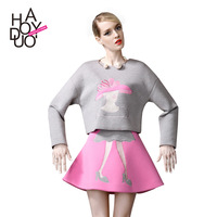 women fashion cute girl embroidery sets with pllover sweater and princess skirt or wholesale and free shipping haoduoyi