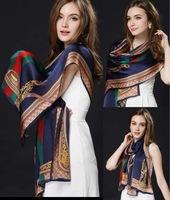 100% Silk Scarf Women Fashion Brand scarf bufandas Desigual Printed Shawl and Scarf  Women Winter