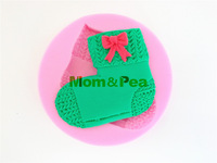 Mom&Pea 0402 Free Shipping Knitted Sock Silicone Soap Mold Cake Decoration Fondant Cake 3D Mold Food Grade Silicone Mould