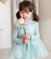 5pc/lot 2014 New Korean Style Long Sleeve Lace Girl Dress For Children Wear Girls Tulle Dress Blue beige