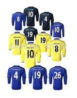 2015 long sleeve jersey HAZARD 10 DIEGO COSTA 19 DROGBA 11 OSCAR FABREGAS Soccer Jersey 14 15 Blue Black Yellow Football shirt