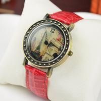 2014 hot sell Paris Eiffel Tower Retro Leather Strap Watches Quartz Analog Wrist Watch