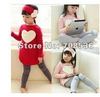 Free shipping New fashion Autumn Love heart Girl 3pcs suit, Girl long tops + leggings + headband Children's set