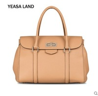 YEASALAND isa Lauder head layer Cowhide Leather Tote Handbag fashion simple litchi travel bag