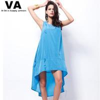 Dress Big Size O Neck Sleeveless Solid Color Irregular Hem Dress for Woman 2014 New Summer Female Clothing Dress W00139