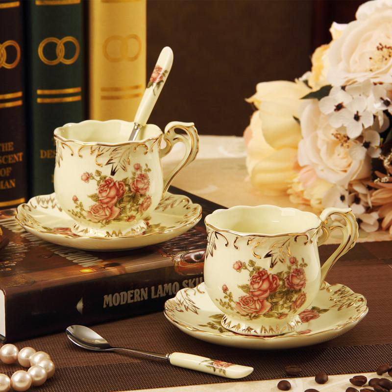 2pcs set Luxury Porcelain British Vintage Coffee and Tea Cup Lovers Set CJ 118