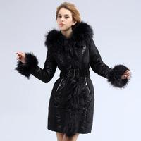 Fashion royal for cat black lace fashion long design of luxury women's fur collar down coat