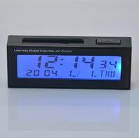 High quality fashion mini black car auto vehicle backlight solar power clock time date calendar week
