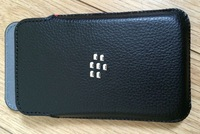 50pcs For Blackberry Q5  Black Leather Pocket Pouch Cover Case & Free shipping