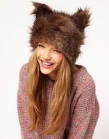 Cute Animal Ears Faux Fur Warm Women Hat Casual Lady Earwarmer Fashion 2014 New Girls Brown Color Christmas Hat Gift