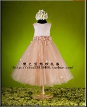 Das crianças cor de café vestidos moda outono primavera flor vestido de festa meninas wedge causal princesa roupas tamanho 8 12 14 c102(China (Mainland))