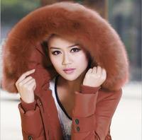 New 2014 Winter Fur Coat Long Jacket Thicken Slim Female Raccoon Collar Women Casual Parka Coat Plus Size 5XL